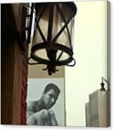 Downtown Detroit Light Fixture With Muhammad Ali Billboard Canvas Print