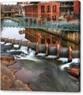 Downtown Greenville On The River Winter Canvas Print