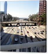 Downtown Los Angeles. 110 Freeway And Wilshire Bl Canvas Print