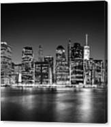 Downtown Manhattan Bw Canvas Print