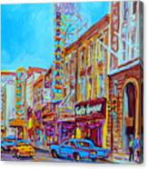Downtown Montreal Street Rue Ste Catherine Vintage City Street With Shops And Stores Carole Spandau  Canvas Print