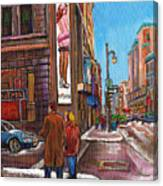 Downtown Montreal Streetscene At La Senza Canvas Print