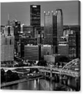 Downtown Pittsburgh At Twilight - Black And White Canvas Print