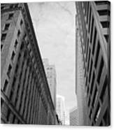 Downtown San Francisco Street View - Black And White 2 Canvas Print