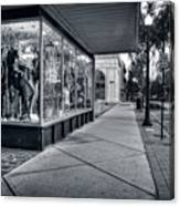 Downtown Sidewalk In Black And White Canvas Print