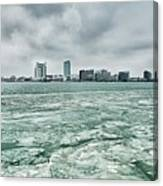 Downtown Windsor Canada City Skyline Across River In Spring Wint Canvas Print