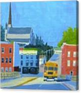 Downtown With School Bus     Canvas Print