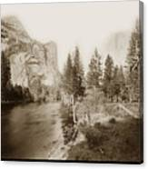 Domes And Royal Arches From Merced River Yosemite Valley Calif. Circa 1890 Canvas Print