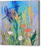 Dragonflies In Wild Garden Canvas Print
