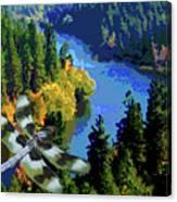 Dragonflight Over The Spokane River Canvas Print