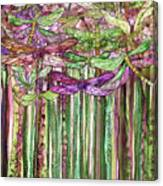 Dragonfly Bloomies 1 - Pink Canvas Print