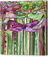 Dragonfly Bloomies 2 - Pink Canvas Print