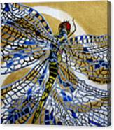 Dragonfly On Gold Scarf Canvas Print