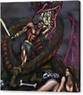 Dragonslayer N Damsel Canvas Print