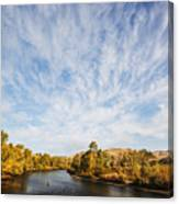 Dramatic Clouds Over Boise River In Boise Idaho Canvas Print
