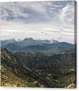 Dramatic Panoramic View Of Snow Capped Mountains Of Northern Cor Canvas Print