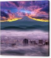 Dramatic Sunrise Over Foggy Downtown Portland Canvas Print