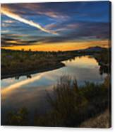 Dramatic Sunset Over Boise River Boise Idaho Canvas Print