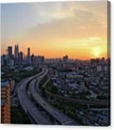 Dramatic Sunset Over Kuala Lumpur City Skyline Canvas Print