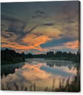 Dramatic Sunset Over The Misty River Canvas Print