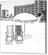 Drawing The Beach Chairs Canvas Print
