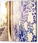 Drawing Tiles On Bairro Alto Walls In Lisbon Canvas Print