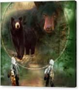 Dream Catcher - Spirit Of The Black Bear Canvas Print