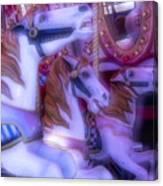 Dreamy Carrousel  Horses Canvas Print