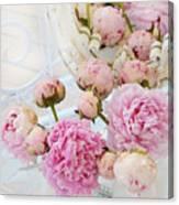 Dreamy Shabby Chic Romantic Peonies - Garden Peonies White Mason Jars Canvas Print