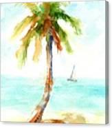 Dreamy Tropical Beach Palm Canvas Print