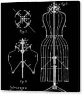Dress Form Patent 1891 Black Canvas Print