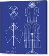 Dress Form Patent 1891 Blue Canvas Print