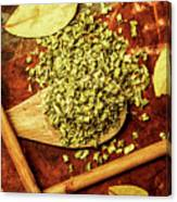 Dried Chives In Wooden Spoon Canvas Print