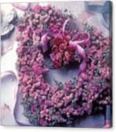 Dried Flower Heart Wreath Canvas Print