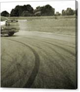 Drifting Tracks Japanese Car Drifting Round A Corner With Tyres Smoking Canvas Print