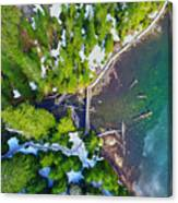 Drone Shot Of Lake 22 Bridge Canvas Print