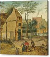 Drunkard Being Taken Home From The Tavern By His Wife Canvas Print
