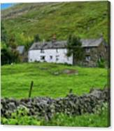 Dry Stone Wall And White Cottage - P4a16022 Canvas Print