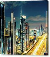 Dubai Downtown Architecture And A Highway.  Canvas Print