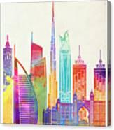 Dubai Landmarks Watercolor Poster Canvas Print