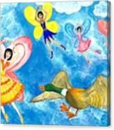 Duck Meets Fairy Ballet Class Canvas Print