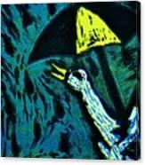 Duck With Umbrella Blue Canvas Print