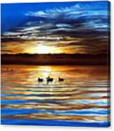 Ducks On Clear Lake Canvas Print