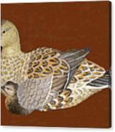 Ducks - Wood Carving Canvas Print