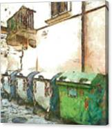 Dumpster Of Garbage Canvas Print