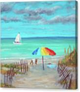Dunes Beach Colorful Umbrella Canvas Print