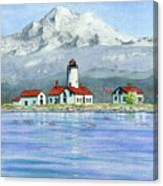 Dungeness Lighthouse With Mount Baker Canvas Print
