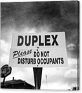 Duplex Yard Sign Stormy Sky In Bw Canvas Print