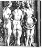 Durer Four Witches, 1497. For Licensing Requests Visit Granger.com Canvas Print