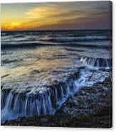 Dusk At Torregorda Beach San Fernando Cadiz Spain Canvas Print